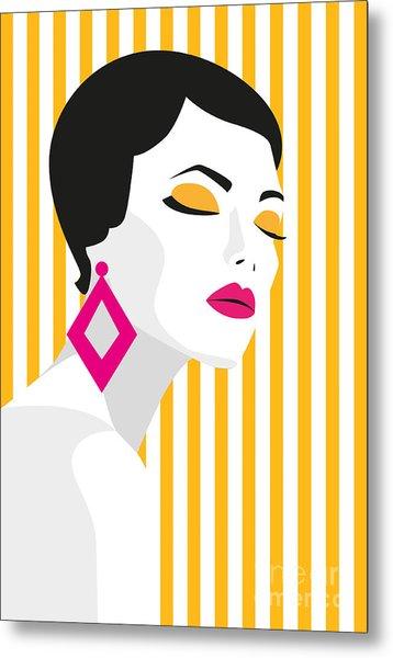 Fashion Girl. Bold, Minimal Style. Pop Metal Print