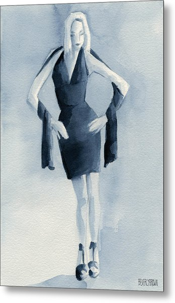 Fashion Illustration Art Print Woman In Blue Dress Front Metal Print