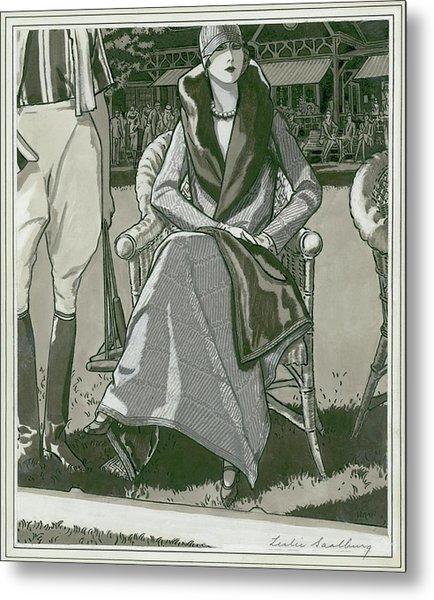 Fashion Illustration Of A Woman Metal Print by Leslie Saalburg
