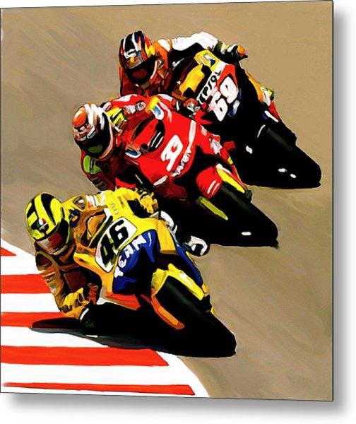 Faster  Valentino Rossi Nicky Hayden Metal Print