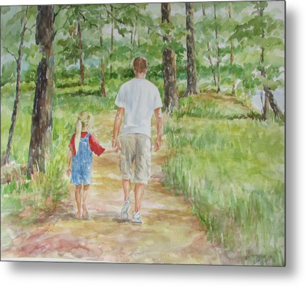 Father And Daughter Walk Metal Print