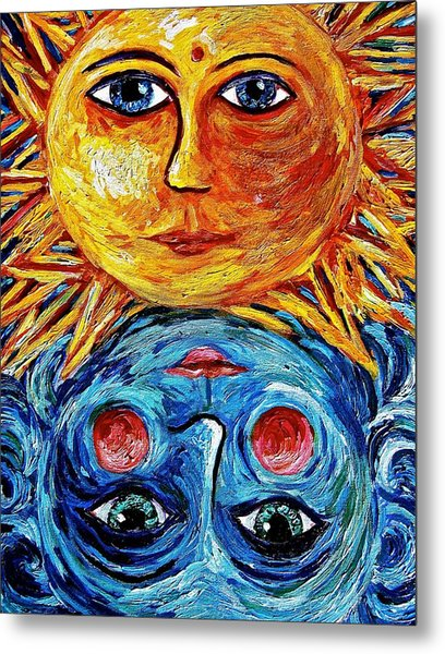 Father Sun And Mother Moon Metal Print by Sebastian Pierre