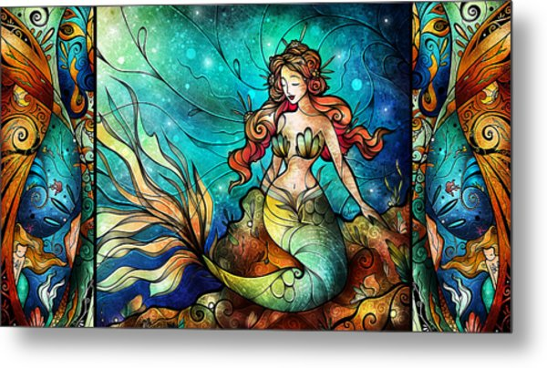 The Serene Siren Triptych Metal Print