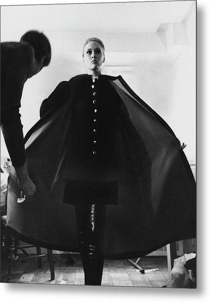 Faye Dunaway Wearing A Melton Coat Metal Print by Jack Robinson