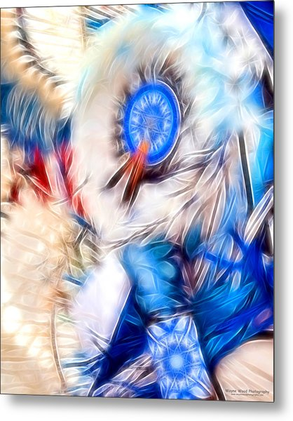 Feather Abstract In Blue Metal Print