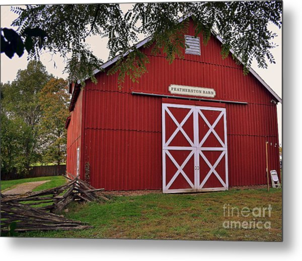Featherstone Red Barn Metal Print