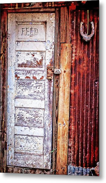 Feed Room Door Metal Print by Kelly Kitchens