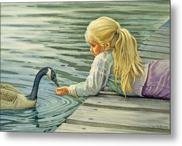 Feeding The Canada Goose Metal Print