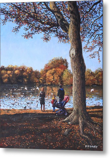 Feeding The Ducks At Southampton Common Metal Print