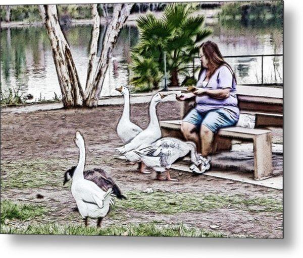 Feeding The Geese Metal Print