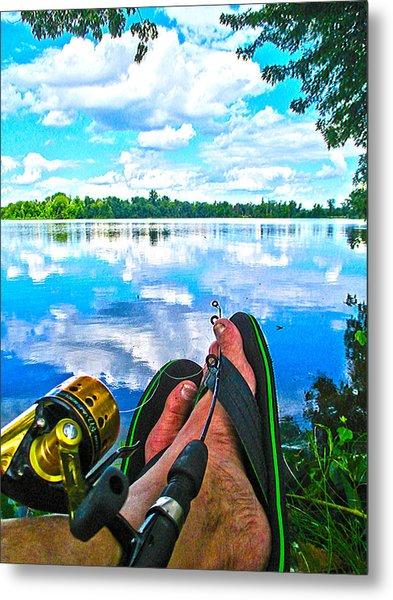 Feet Up Fishing Crab Orchard Lake Metal Print