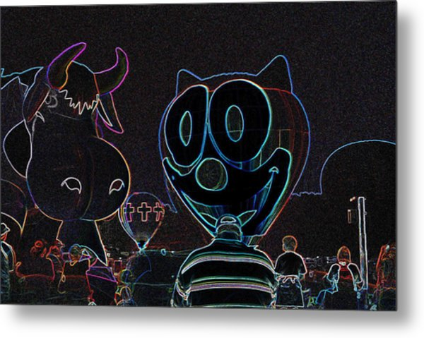 Felix And The Cow In Neon Metal Print