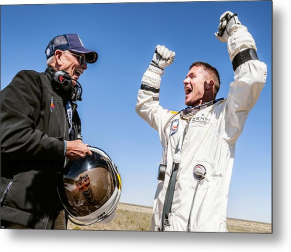 Felix Baumgartner After Freefall Metal Print by Science Photo Library
