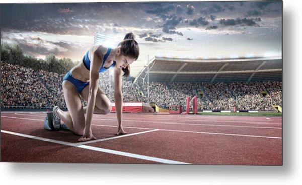 Female Athlete Prepares To Run Metal Print by Dmytro Aksonov