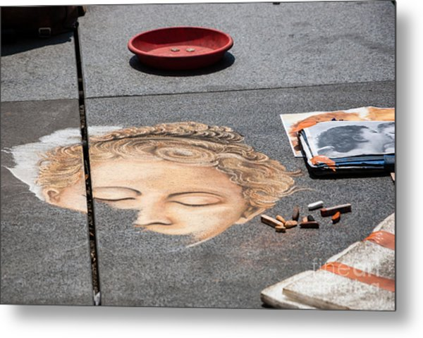 Female Head Chalk Painting On Sidewalk. Metal Print