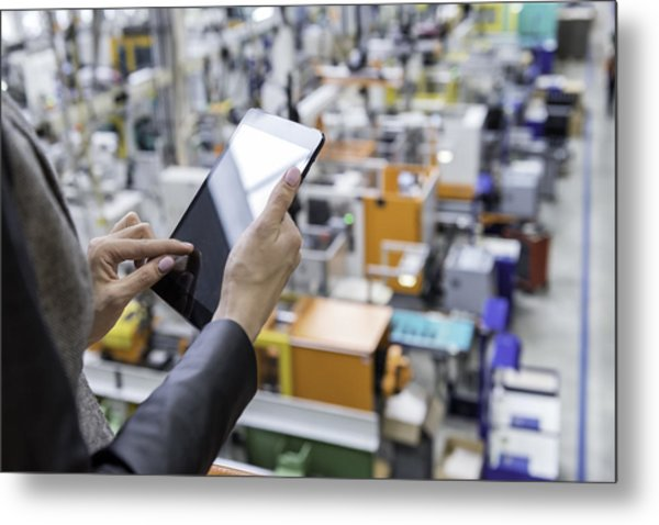 Female Manager Working On Tablet In Factory Metal Print by Yoh4nn