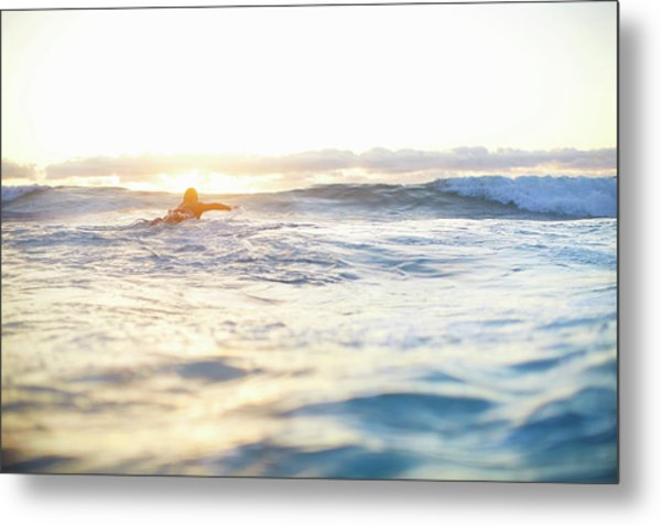 Female Surfer Swimming Out To Waves On Metal Print by Moof