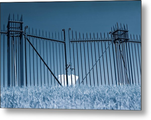 Fence And Cloud Metal Print