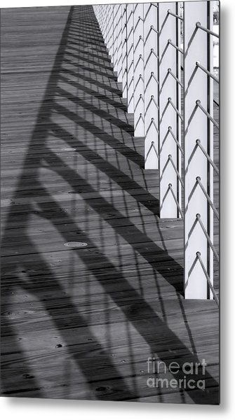 Fence And Shadows Metal Print