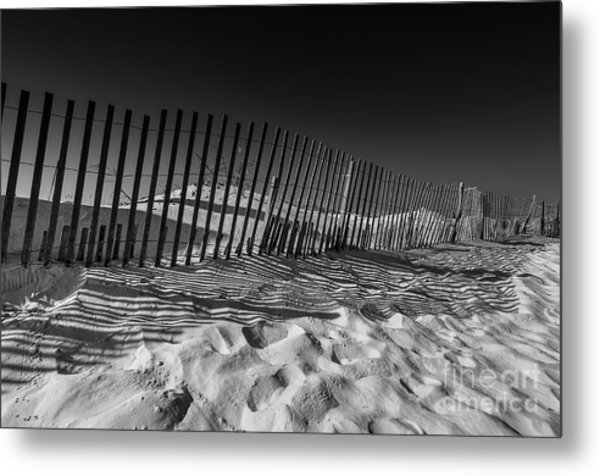 Fence On Beach Metal Print