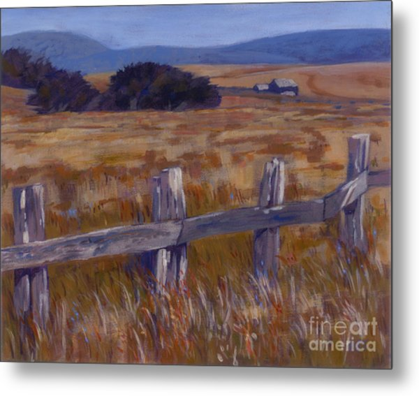 Fenced Field - Point Arenas Ca Metal Print by Betsee  Talavera