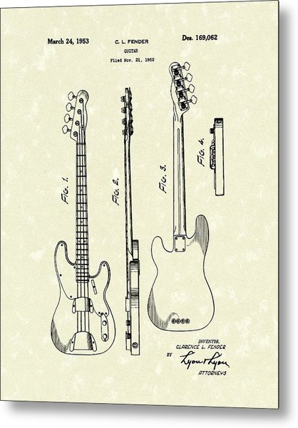 Metal Print featuring the drawing Fender Bass Guitar 1953 Patent Art  by Prior Art Design