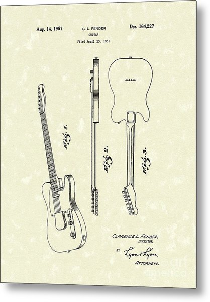 Fender Guitar 1951 Patent Art Metal Print