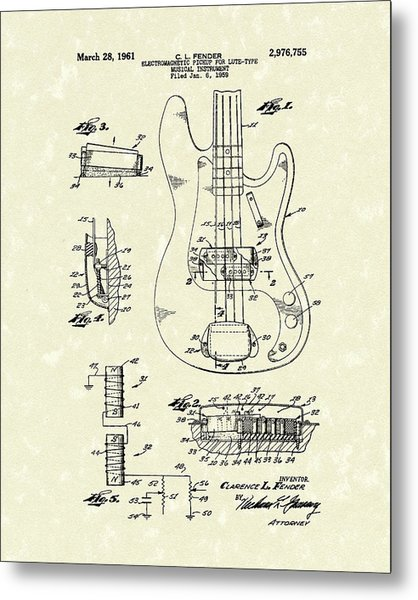 Metal Print featuring the drawing Fender Guitar 1961 Patent Art by Prior Art Design