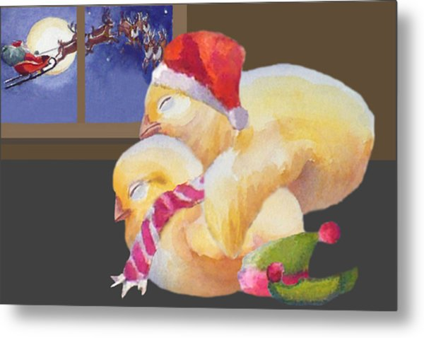 Baby Chicks Night Before Christmas Metal Print