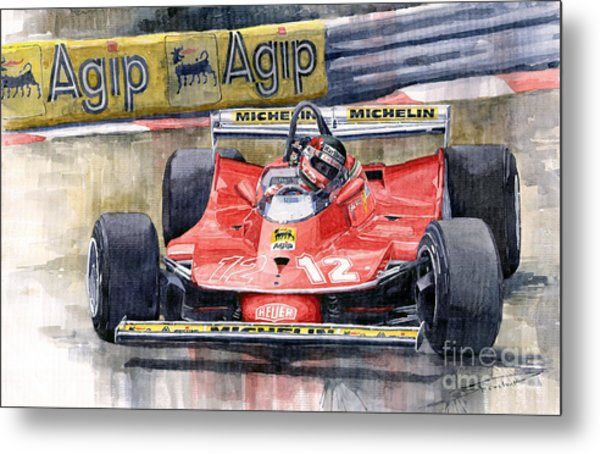 Ferrari  312t4 Gilles Villeneuve Monaco Gp 1979 Metal Print