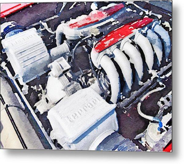 Ferrari 512 Tr Testarossa Engine Watercolor Metal Print
