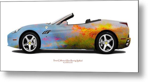 Ferrari California Burning Sealand Metal Print by Jan W Faul