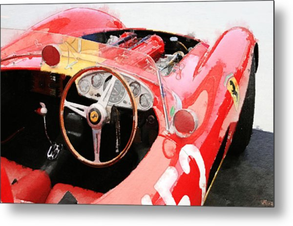 Ferrari Cockpit Monterey Watercolor Metal Print