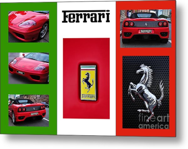 Ferrari Collage On Italian Flag Metal Print