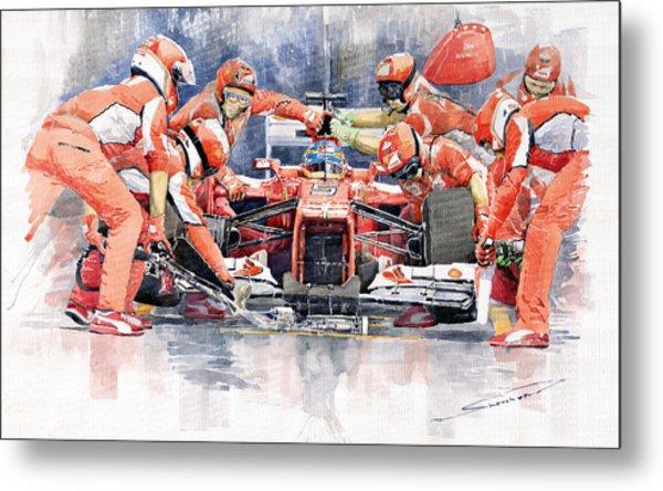 2012 Ferrari F 2012 Fernando Alonso Pit Stop Metal Print