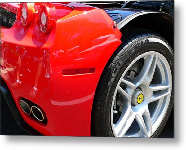 Metal Print featuring the photograph Ferrari Rear Panel And Tire by Jeff Lowe