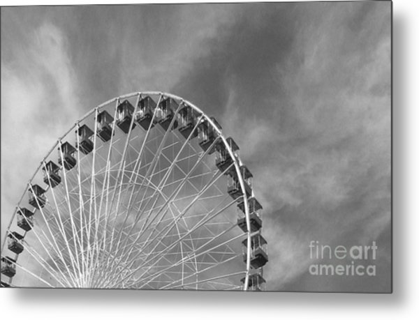 Ferris Wheel Black And White Metal Print