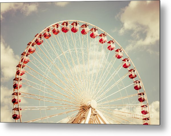 Ferris Wheel Chicago Navy Pier Vintage Photo Metal Print
