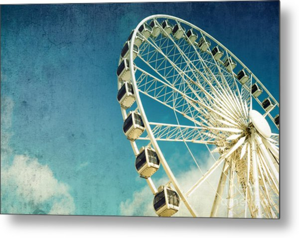 Ferris Wheel Retro Metal Print