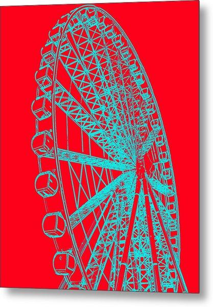 Ferris Wheel Silhouette Turquoise Red Metal Print