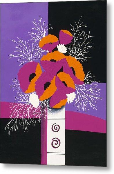 Festive Winter Poppies Metal Print by Carol Sabo
