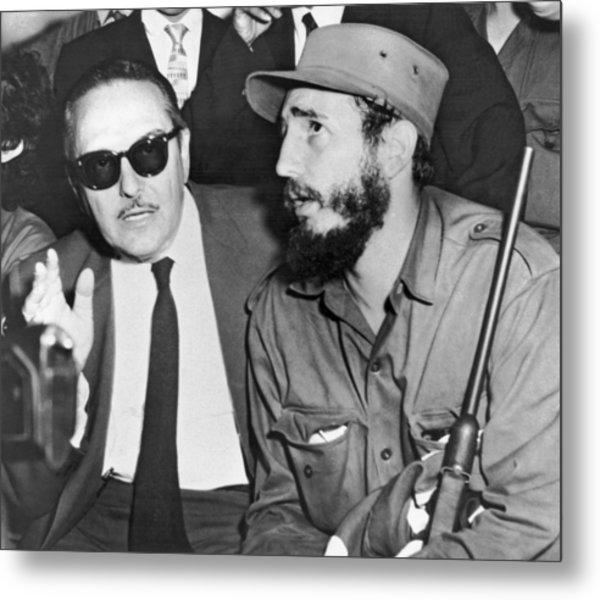 Fidel Castro And Urrutia Metal Print