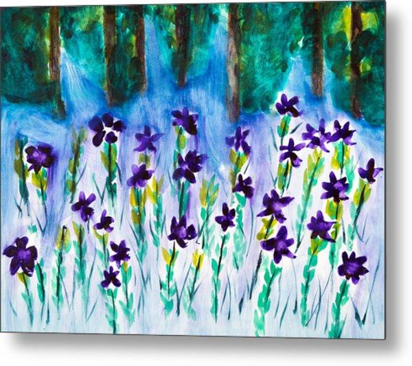 Field Of Violets Metal Print
