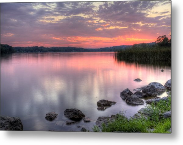 Fiery Lake Sunset Metal Print