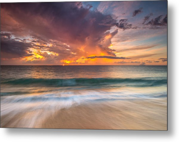 Fiery Skies Azure Waters Rendezvous Metal Print