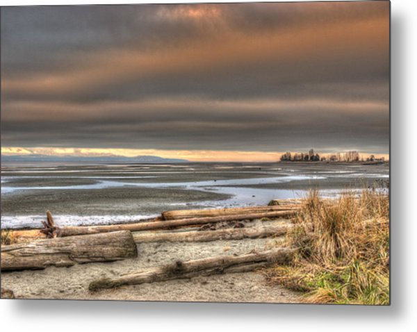 Fiery Sky Over The Salish Sea Metal Print