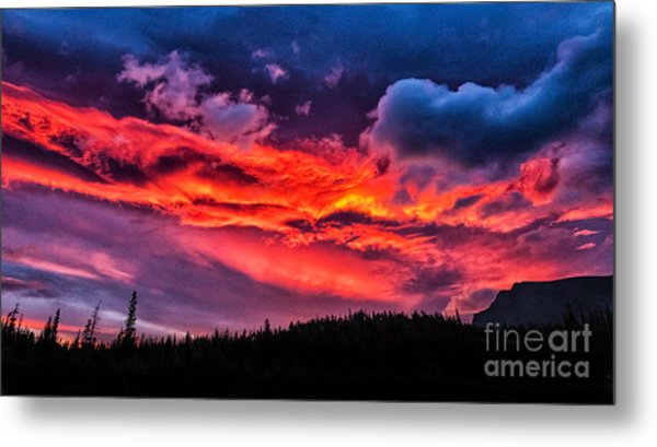 Fiery Sunrise At Glacier National Park Metal Print