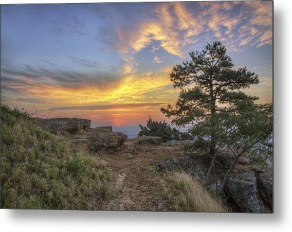 Fiery Sunrise From Atop Mt. Nebo - Arkansas Metal Print
