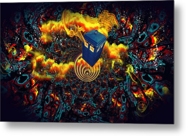 Fiery Time Vortex Metal Print