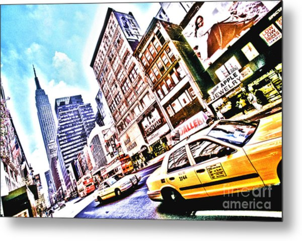 Fifth Avenue And Empire State Hdr Metal Print by Kim Lessel